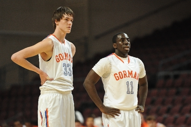 Bishop Gorman's Stephen Zimmerman, left, and Obim Okeke are shown during the 2013 Nevada State High School Basketball Championships semi-final game in February. (Review-Journal File Photo)