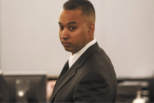 Suspended Las Vegas police officer Solomon Coleman was in Regional Justice Center on Thursday. Coleman, 28, faces multiple charges that he sexually intimidated and harassed women he met on duty. ( ...