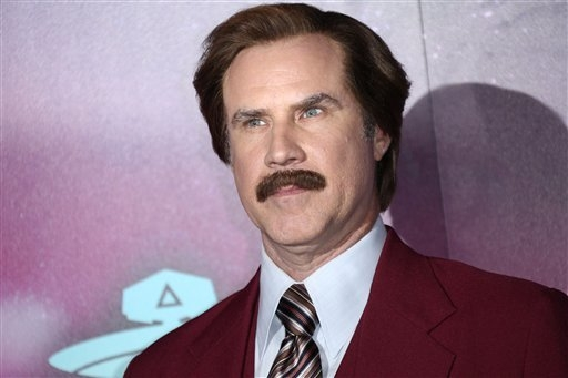 Actor Will Ferrell, dressed as the character Ron Burgundy, poses for photographers upon arrival at the 2013 MTV Europe Music Awards, in Amsterdam, Netherlands, Sunday, Nov. 10, 2013. (Photo by Joe ...