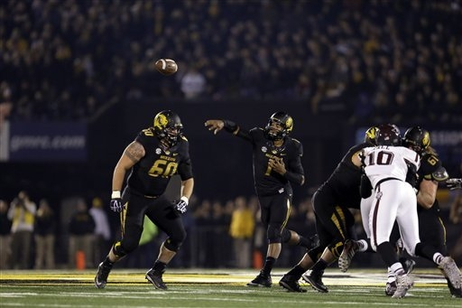 Missouri quarterback James Franklin, shown last Saturday in the Tigers' 28-21 win over Texas A&M, has led Missouri to two wins since missing five weeks with a shoulder injury. (AP Photo/Jeff Rob ...