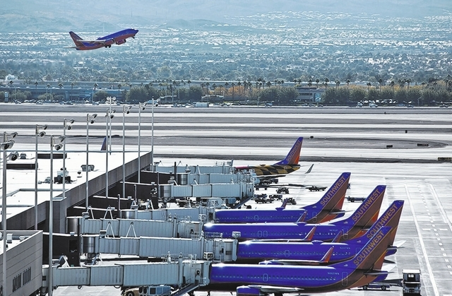 Southwest Airlines jets sit at McCarran International Airport in October. The Clark County Department of Aviation posted a $33.5 million loss before federal grants, according to the audit for fisc ...