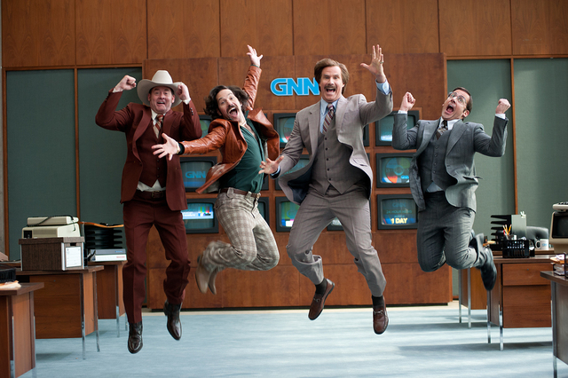 (Left to right) David Koechner is Champ Kind, Paul Rudd is Brian Fantana, Will Ferrell is Ron Burgundy and Steve Carell is Brick Tamland in ANCHORMAN 2: THE LEGEND CONTINUES to be released by Para ...