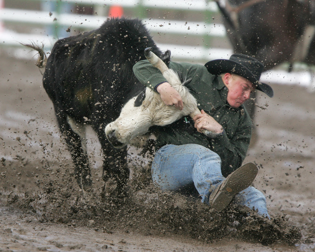 Dakota Eldridge wrestles a steer during the Carson High School Rodeo at Fuji Park in Carson City in 2009. Eldridge was a three-time high school state all-around champion. (AP Photo/Nevada Appeal,  ...