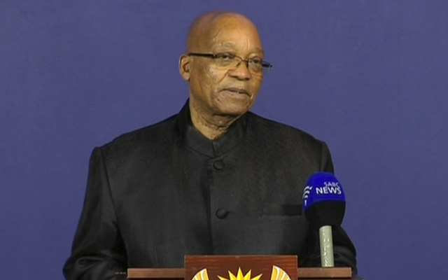 In this image from TV, President of South Africa Jacob Zuma announces Thursday that former President Nelson Mandela has died. (AP Photo/SABC pool)
