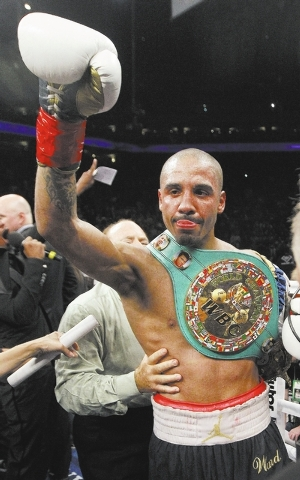 Andre Ward celebrates after defeating Chad Dawson in a WBA/WBC super middleweight championship boxing match in Oakland, Calif., Saturday, Sept. 8, 2012. Ward won by when the fight was stopped in t ...