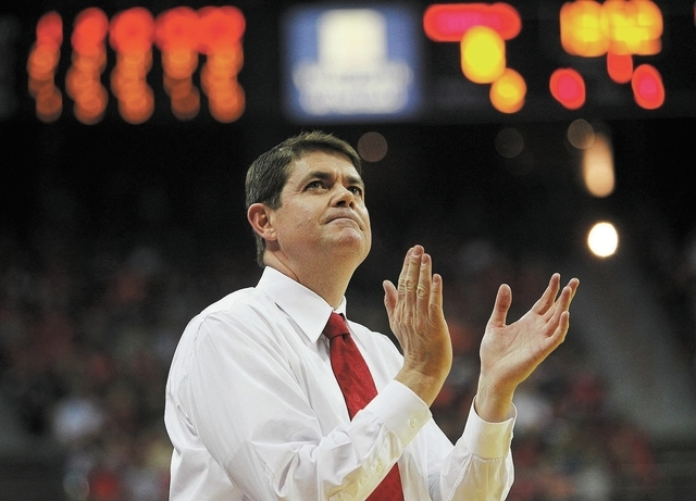 UNLV coach Dave Rice, shown Nov. 26 in the Rebels' loss to Illinois, said unforeseen circumstances, including guard Bryce Dejean-Jones' hamstring injury and a shuffling at the starting point g ...