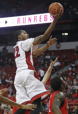 UNLV's Jelan Kendrick (22) soars to the basket against Radford at the Thomas & Mack Center in Las Vegas on Dec. 18, 2013. (Jason Bean/Las Vegas Review-Journal)