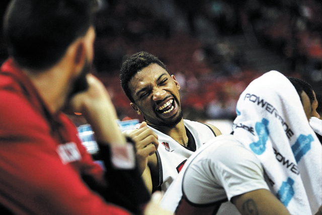 UNLV's Khem Birch, middle, enjoys his team's victory over Sacred Heart at the Thomas & Mack Center in Las Vegas on Dec. 20, 2013. (Jason Bean/Las Vegas Review-Journal)