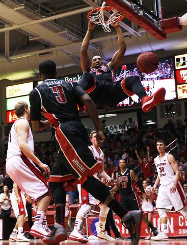 UNLV's Khem Birch (2) dunks against Southern Utah during their basketball game at Centrum Arena in Cedar City, Utah on Dec. 14, 2013. (Jason Bean/Las Vegas Review-Journal)