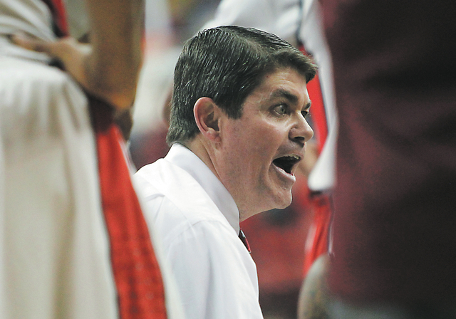 UNLV coach Dave Rice, shown Nov. 12 during the Rebels' 86-65 loss to UC Santa Barbara, leads his team into its league opener Wednesday at Fresno State. (Jason Bean /Las Vegas Review-Journal)
