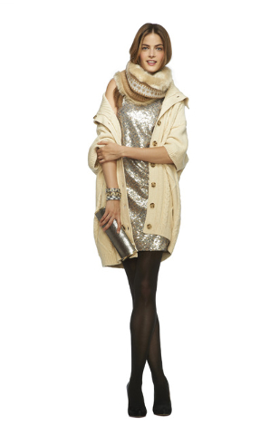 BANANA REPUBLIC LOOK TWO: *Metallic Sequin Shift Dress (corresponding to second look — cocktail party), $140 *Winter White Heritage Cable Poncho, $150 *Camel Fair-Isle Faux-Fur-Trim Neck Warmer, ...