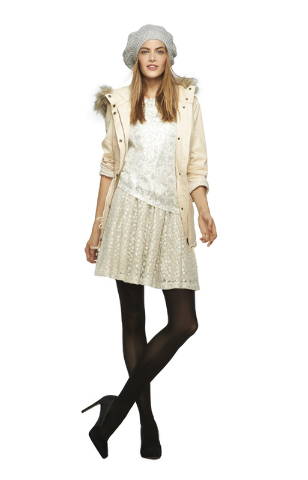 Banana Republic Look Three: *Winter White Heritage Faux-Fur Trimmed Parka, $175 *Winter White Sequin Lace Shirt, $59.50 *Light Grey Heritage Foil Lace Skirt, $98 *Black Opaque Tights, $16.50 *Silv ...