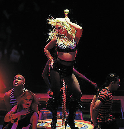 """Pop star Britney Spears performs in her show """"The Circus"""" at the MGM Grand Garden Arena on Saturday night, April 25, 2009, in Las Vegas. (File, JASON BEAN/LAS VEGAS REVIEW-JOURNAL)"""