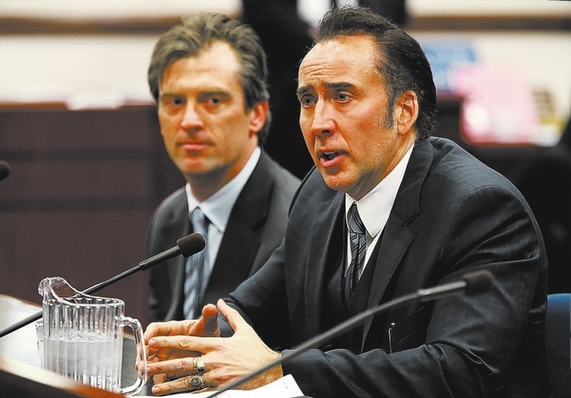 Actor Nicolas Cage testified in support of a bill proposing tax incentives to filmmakers at the Legislative Building Carson City on Tuesday, May 7, 2013. Proponents of the measure say it will brin ...