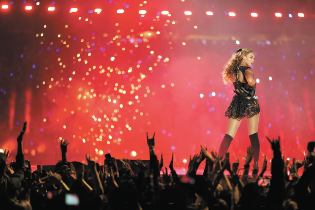 Beyonce performs during the halftime show of  the NFL Super Bowl XLVII football game between the San Francisco 49ers and the Baltimore Ravens Sunday, Feb. 3, 2013, in New Orleans. (AP Photo/David  ...
