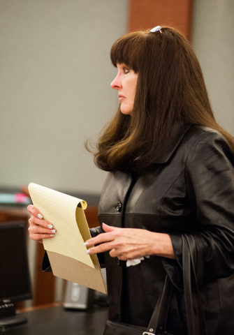 Defendant Linda Cooney, inside a court room for a hearing in which she is accused of shooting her son from the Regional Justice Center in Las Vegas Friday, Dec. 20, 2013. (Martin S. Fuentes/Las Ve ...
