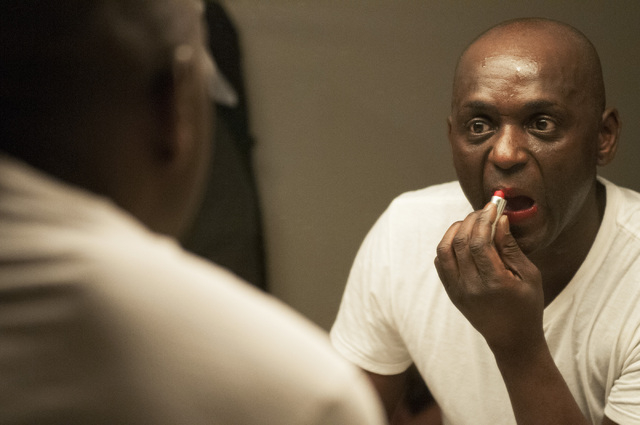 Sean E. Cooper does his make up backstage before entertaining the crowd with his Michael Jackson impression during his show at Sin City Theatre inside Planet Hollywood hotel-casino in Las Vegas, S ...
