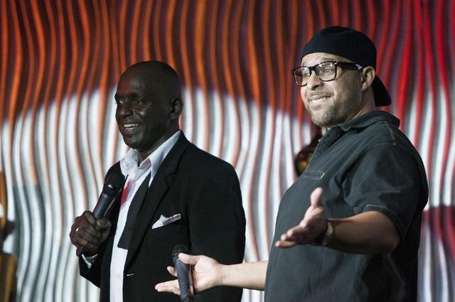 Sean E. Cooper, left, and Bobby Robertson entertain the crowd during Cooper's show at Sin City Theatre inside Planet Hollywood hotel-casino in Las Vegas, Saturday, Dec. 7, 2013. (Erik Verduzco/Las ...