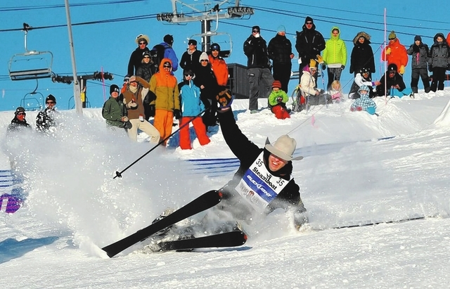 Dakota Eldridge speeds to victory in the 2012 Cowboy Downhill at Steamboat Springs Ski Resort in Colorado. (Courtesy)