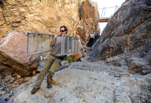 Aquaculturist Olin Feuerbacher carries down a scaffolding to create a landing to work from at Devil's Hole on Nov. 25, 2013. (David Becker/Las Vegas Review-Journal)