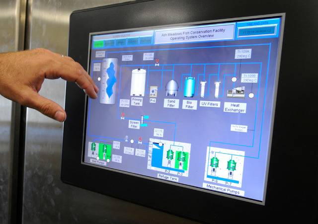 A video display panel displays the operational systems at the Ash Meadows Fish Conservation Facility on Nov. 25, 2013. The newly open facility, located about 90 miles west of Las Vegas was created ...