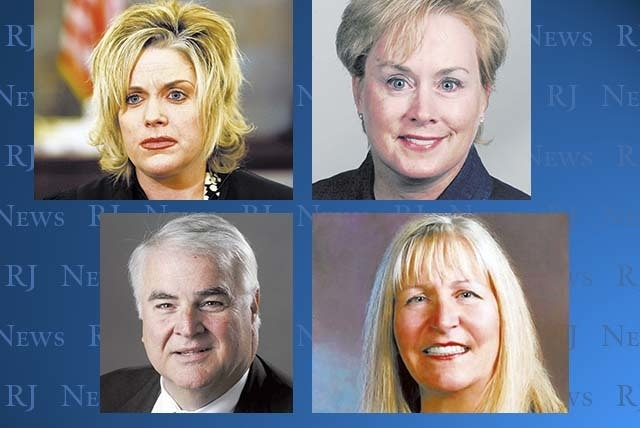Clockwise, from top left, District Court judges Michelle Leavitt, Jessie Walsh, Valorie Vega and Douglas Smith are up for election next year, but they did not receive a majority retention score fr ...