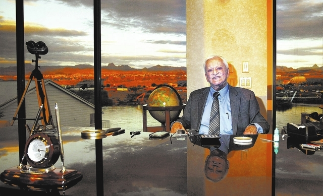 American gambling entrepreneur and hotelier Don Laughlin poses for a portrait in his office at the Riverside Resort Hotel & Casino in Laughlin on Nov. 20, 2013. (Jason Bean /Las Vegas Review-Journal)