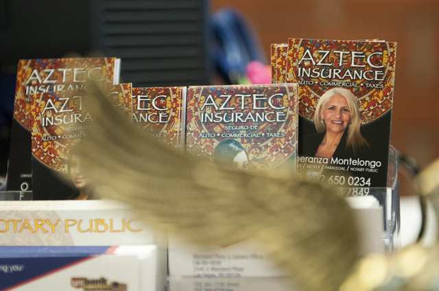 The business card of Esperanza Montelongo, owner of Aztec Insurance, is seen at her office in Las Vegas Saturday, Dec. 28, 2013. (Erik Verduzco/Las Vegas Review-Journal)