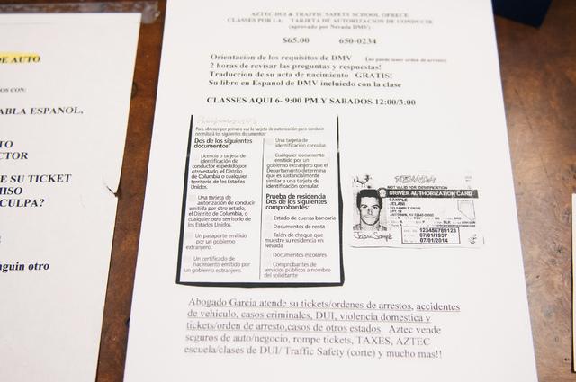 A flyer advertising classes on how to obtain a driver authorization card is seen at Aztec Insurance in Las Vegas Saturday, Dec. 28, 2013. (Erik Verduzco/Las Vegas Review-Journal)