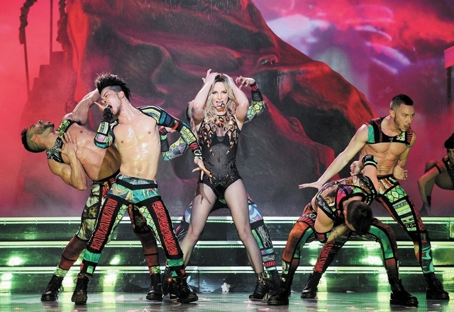 Britney Spears in concert on Thursday. (by DENISE TRUSCELLO)