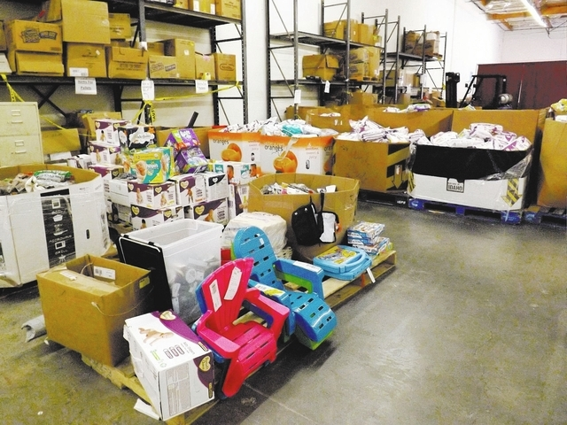 Items are discounted 60 to 80 percent off the retail price at the Back 2 Basic Global Outreach warehouse, 4445 S. Valley View Blvd., Suite 4, in Las Vegas, on Nov. 16, 2013. Back 2 Basic Global Ou ...