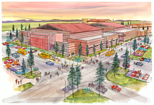 An artist's rendering shows the new 1,150-seat Crusader Competition Complex planned at Faith Lutheran Middle School and High School. (Special to View)