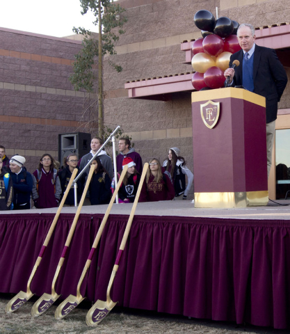 Benefactor Stuart Engs speaks at the groundbreaking ceremony for the Crusader Competition Complex, the new 1,150-seat athletic center at Faith Lutheran Middle School and High School in Las Vegas,  ...