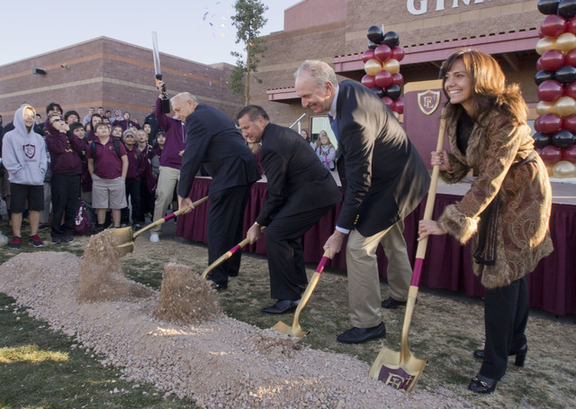 Shovels are manned at the groundbreaking ceremony for the Crusader Competition Complex, the new 1,150-seat athletic center at Faith Lutheran Middle School and High School in Las Vegas, Thursday, D ...