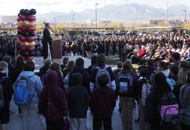 Faith Lutheran CEO Dr. Steven Buuck speaks at a groundbreaking ceremony Dec. 5 for the Crusader Competition Complex planned at Faith Lutheran Middle School and High School, 2015 S. Hualapai Way. T ...