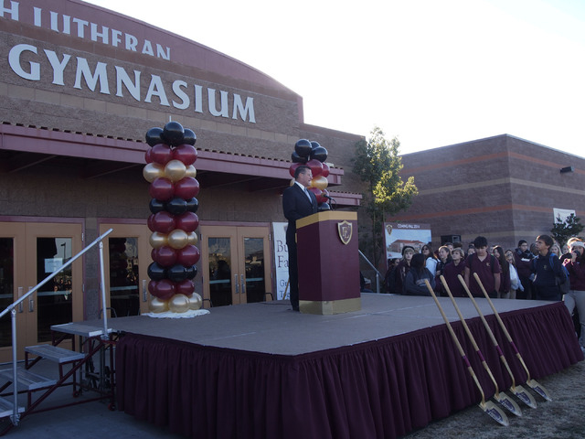 Faith Lutheran CEO Dr. Steven Buuck speaks at the groundbreaking ceremony for the Crusader Competition Complex, the new 1,150-seat athletic center at Faith Lutheran Middle School and High School i ...