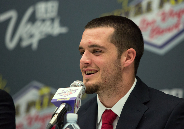 Fresno State's quarterback, Derek Carr, attends a press conference at the Las Vegas Convention Center on Friday, Dec. 20, 2013. The two teams will compete in the Las Vegas Bowl Saturday at 12:30 p ...