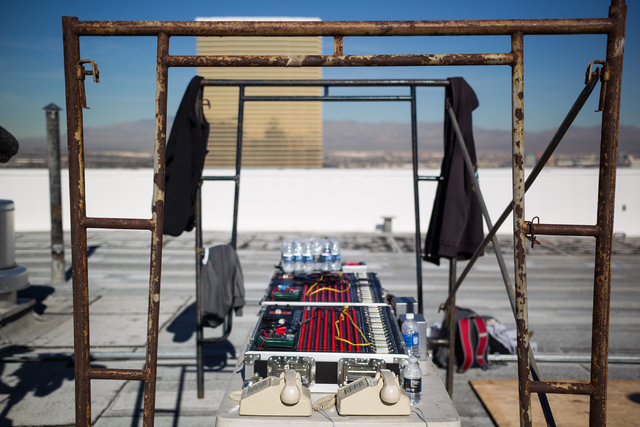 The command center for the New Year's Eve fireworks show is seen on the roof of the Treasure Island during preparation in Las Vegas on Monday, Dec. 30, 2013. Treasure Island is one of seven firing ...