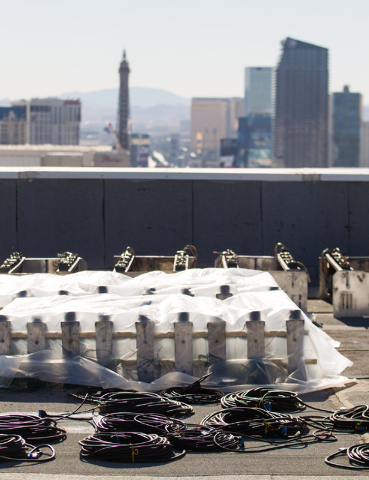 Wires and fireworks devices are seen during preparation of the New Year's Eve fireworks show on the roof of the Treasure Island in Las Vegas on Monday, Dec. 30, 2013. Treasure Island is one of sev ...