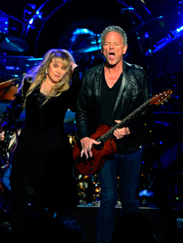 Singer Stevie Nicks, left, and singer/guitarist Lindsey Buckingham of Fleetwood Mac perform at the MGM Grand Garden Arena on Monday, Dec. 30, 2013. (David Becker/Las Vegas Review-Journal)