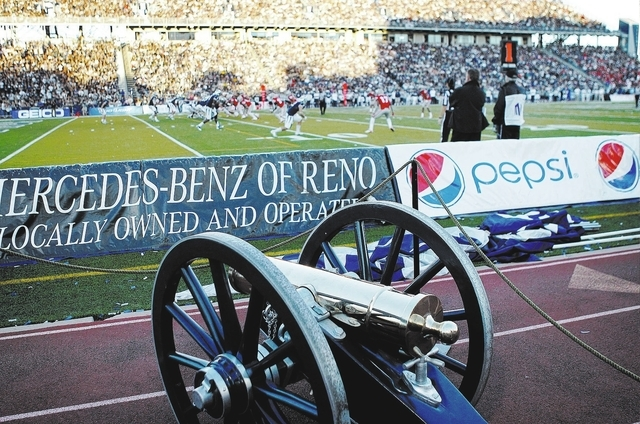 The Fremont Cannon trophy sits next to the field at Mackay Stadium during the big rivalry football game between UNLV and UNR in Reno on Oct. 26, 2013. (Jason Bean/Las Vegas Review-Journal)