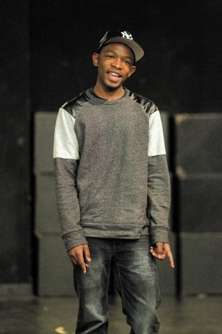 "Fifteen-year-old UNLV student Ke'Andre Blackston Jr. performs the song ""Tonight"" from ""West Side Story"" in his Musical Theater class at the Paul Harris Theatre on the UNLV camp ..."