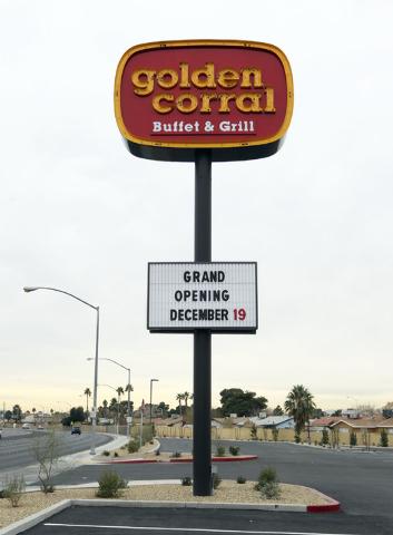 A Golden Corral buffet restaurant is seen at 1455 S. Lamb Boulevard in Las Vegas, Wednesday, Dec. 18, 2013. The business is set to open on December 19.  (Jerry Henkel/Las Vegas Review-Journal)