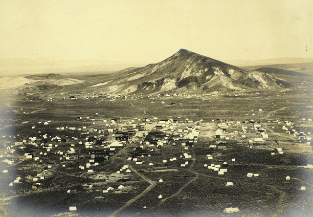 Aerial view of Goldfield is shown in 1904. Goldfield was the largest town in Nevada with a population of 20,000 early in the state's life and was the last major gold rush site in the continental U ...