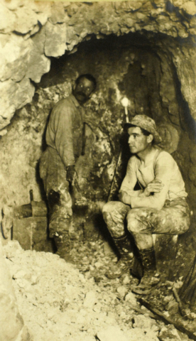 Two unidentified miners work in a gold mine in Goldfield, Nevada in the early twentieth century. Goldfield, which in the early 1900s was the largest town in Nevada with a population of 20,000, was ...