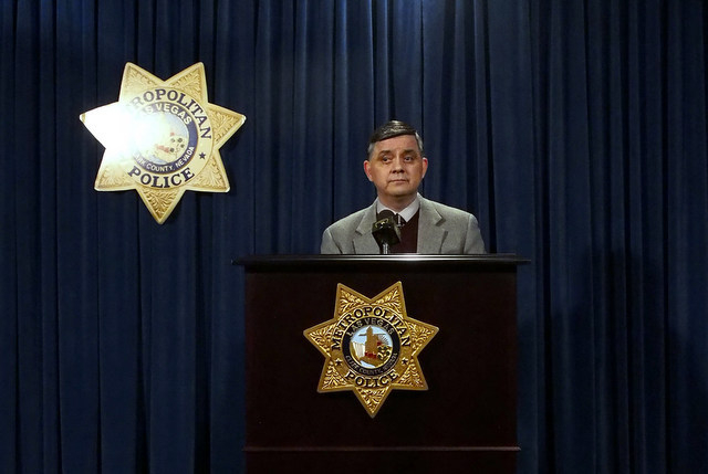 Las Vegas Metropolitan Police Deputy Chief Al Salinas makes a brief statement concerning investigation into the injuries sustained by Judge Eric Goodman during a media briefing at Metro headquarte ...
