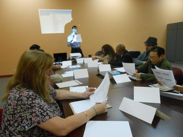 Victor Letky, workforce development facilitator with Goodwill of Southern Nevada, leads a class Dec. 4 at Goodwill's newest career center at 741 S. Rainbow Blvd. The nonprofit has trained 730 peop ...