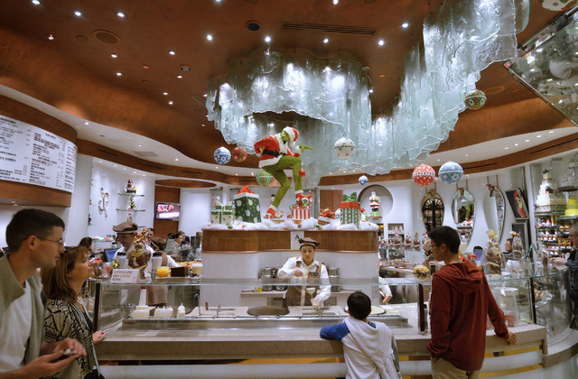 A Grinch display is shown at the Jean-Philippe Patisserie in the Bellagio hotel-casino at 3600 Las Vegas Blvd., South, on Friday, Nov. 29, 2013. (Bill Hughes/Las Vegas Review-Journal)