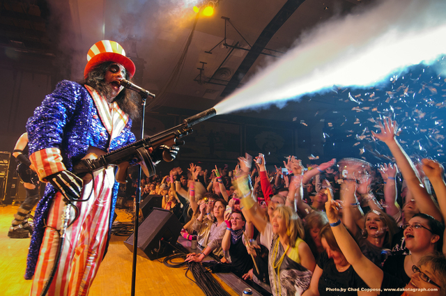 That's Hairball's 'Rockstar Bob' as Alice Cooper, but the real Alice Cooper will play with Hairball tonight in a fundraiser in the Orleans Arena for the Boys & Girls Club. (Courtesy/Chad Coppess)