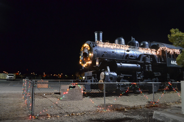 The steam engine at the Clark County Museum is decked out in lights for Heritage Street Holidays at the Clark County Museum, 1830 S. Boulder Highway in Henderson, Dec. 14, 2013. (Ginger Meurer/Las ...